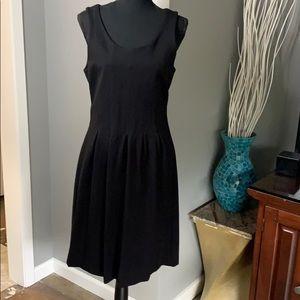 J Crew Black Sleeveless Dress w/ Pleated Skirt
